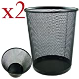 Zuvo Lightweight and Sturdy Circular Mesh Waste Bin, Metal Black, 19 x 24.5 x 26 cm (Pack of 2)