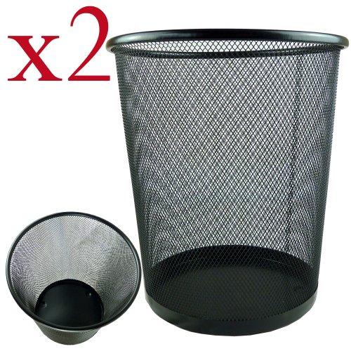Zuvo Cestini per la carta, forma circolare, in rete, metallica, robusti e leggeri, Nero, 19 x 24.5 x 26 cm, confezione da 2