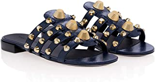 Ms Metal Rivets Flat Slippers Plus Size Sandals Beach Shoes