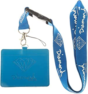 Diamond Supply Co. Blue Faux Leather Business ID Badge Card Holder with Keychain Lanyard