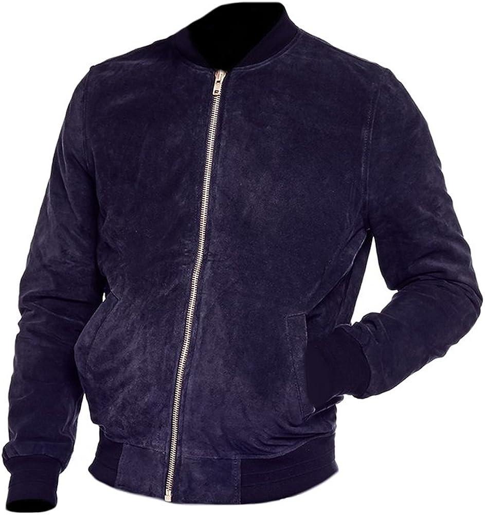 coolhides Men's Fashion Bomber Suede Leather Jacket