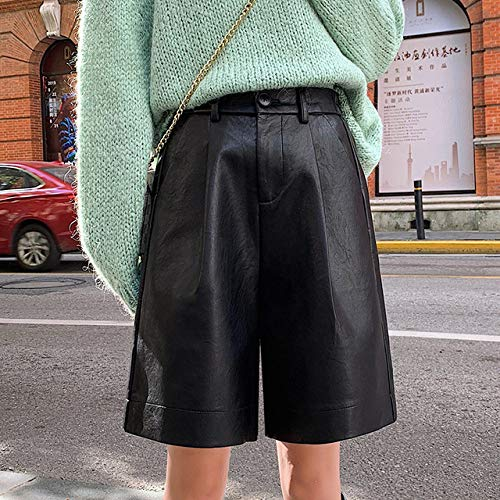 IHCIAIX Sommer Damen Shorts, S-4XL Ledershorts Damen Herbst Winter Elastische Taille Lose Five Points Lederhose Plus Size Shorts, Schwarz, XXL