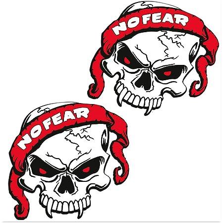Skinoeu 2 Stück Vinyl Aufkleber Autoaufkleber Skull No Fear Schädel Totenkopf Funny Horror Stickers Auto Moto Motorrad Fahrrad Helm Fenster Tür Tuning B 120 Auto