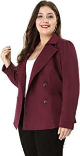 Agnes Orinda Women's Plus Size Casual Blazer Double-Breasted Tie Waist Trench Coat