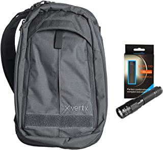 Vertx EDC Transit Sling Tactical Backpack (Smoke Grey) Laptop Compartment Low-Profile Bag w/Keychain Flashlight