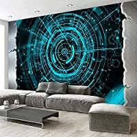 QQYYYT ウォールアートポスター-3D壁画壁紙モダンブルー幾何学バーレストラン壁画壁紙リビングルーム装飾ポスター壁装飾絵画