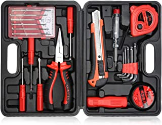 Home Hand Tool Repair Kit, Kingsdun 21pcs Household Tool Set with Long Nose Pliers, Tape Measure, Utility Knife, Hex Keys, Voltage Tester, PVC Electrical Tape, Sockets Tool, Precision and Eyeglass Scr