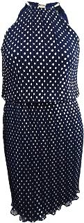 Womens Metallic Polka Dot Halter Dress Navy 10