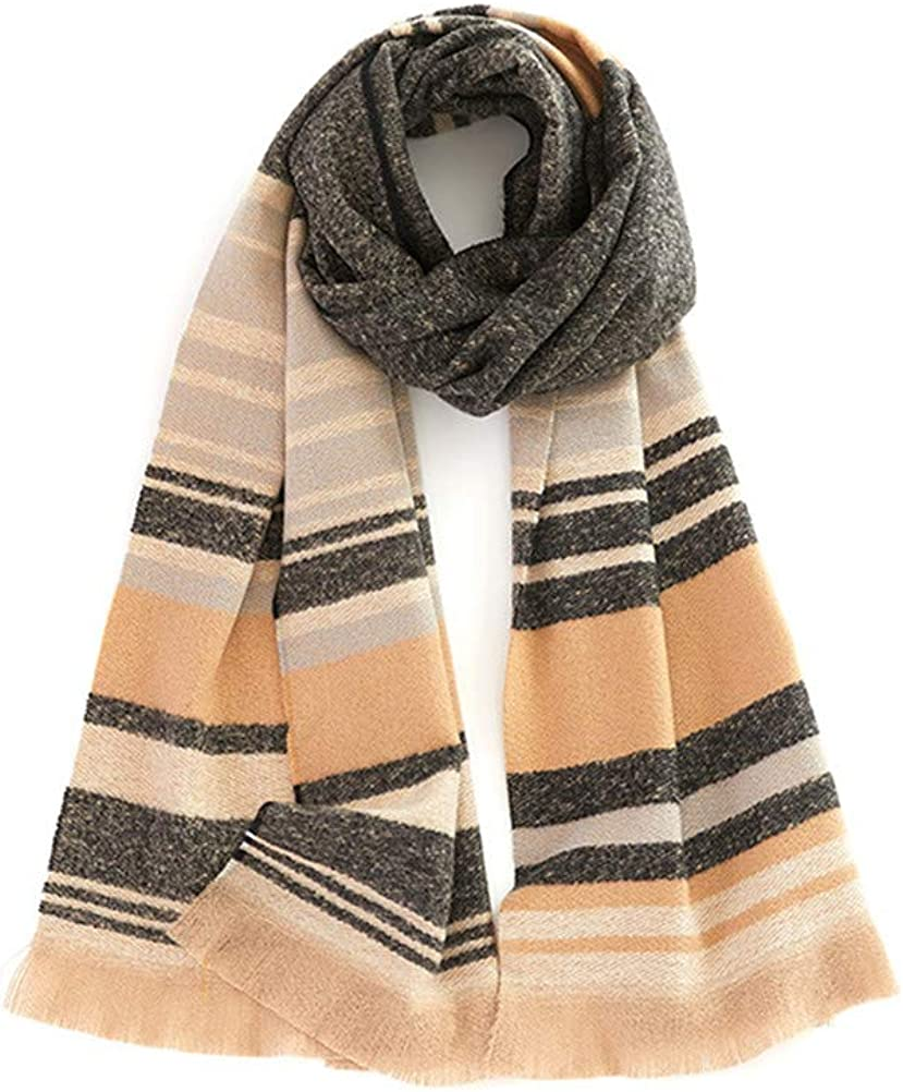 Fashion Winter Long Soft Warm Tartan Check Scarves Wraps for Women Wool Spinning Shawl Long Stole
