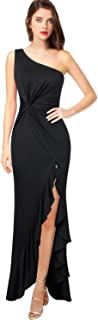 VFSHOW Womens One Shoulder Ruched Ruffle Cocktail Formal Evening Party Mermaid Dress