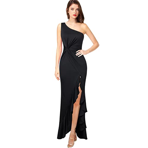 87373f061c1 VFSHOW Womens One Shoulder Ruched Ruffle Formal Evening Mermaid Maxi Dress