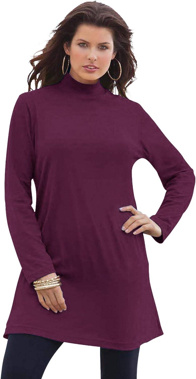 Roaman's Women's Plus Size Mockneck Ultimate Tunic 100% Cotton Mock Turtleneck
