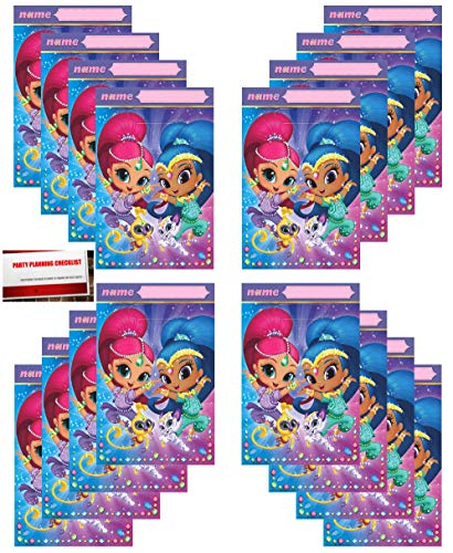 Shimmer and Shine 16 Pack Party Plastic Loot Treat Candy Favor Bags (Plus Party Planning Checklist by Mikes Super Store)