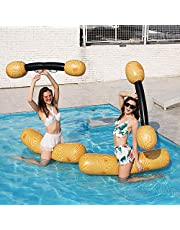 2-Pack Swimming Pool Float Hammock, Inflatable Pool Floats Pool Party Play Boat Raft Collision Wood Grain Seat Mounts Water Swimming Floating Row
