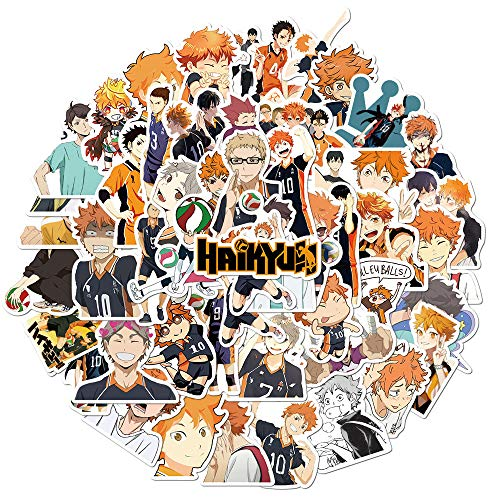 Haikyuu Anime Stickers for Laptop Water Bottle Luggage Skateboard Helmet Bike Phone 50pcs Pack, Best Gifts for Teen Girls Boys Kids Children, Waterproof Cool and Trendy Cute Stickers