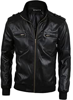 uxcell Men Casual Classic Zip Up Moto Motorcycle Pu Imitation Leather Jacket