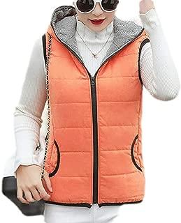 Macondoo Women Full-Zip Down Jacket Hooded Sleeveless Slim Vest