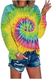 HEFASDM Women's Long Sleeve Floral Spring Casual Blouse Split Tie-Dye Tees Top