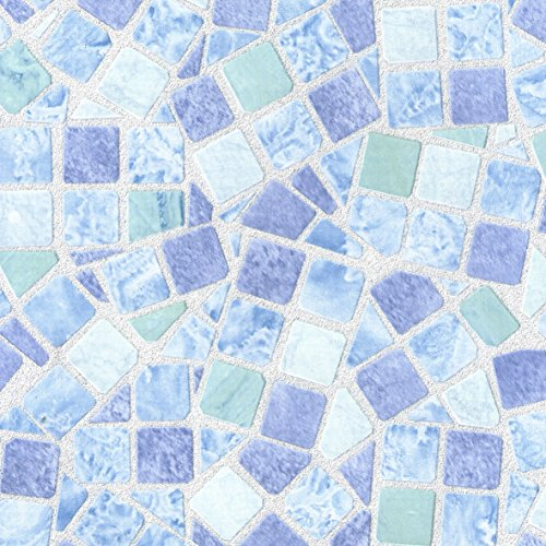 Venilia Klebefolie Mosaik Dekofolie Möbelfolie Tapeten selbstklebende Folie, PVC, ohne Phthalate, 45 x 150 cm, 53234, Mosaiik Blau, 45 cm x 1,5 m