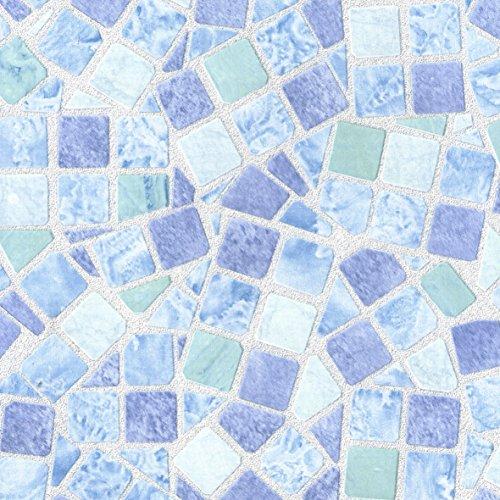 Klebefolie Mosaik-Optik Blau, Mosaik Fliesen-Optik, Dekofolie, Möbelfolie, Tapeten, selbstklebende Folie, PVC, ohne Phthalate, blau, 45 x 150 cm, Stärke 0,095mm, Venilia 53234