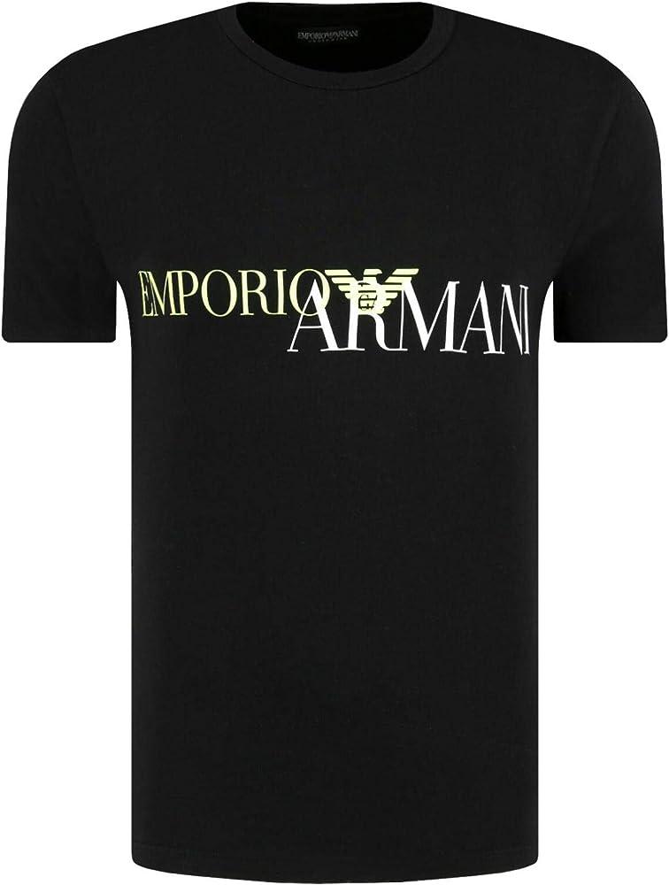 Emporio armani,  maglietta,  t-shirt per uomo , manica corta, 95% cotone, 5% elastan , GIALLO 111035 0A516A