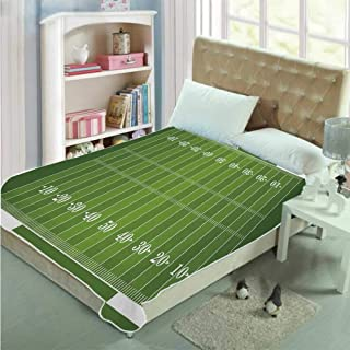 ALUONI Football Soft Blanket,Sports Field in Green Gridiron Yard Competitive Games College Teamwork Superbowl for Home,51.1''L x 31.4''W