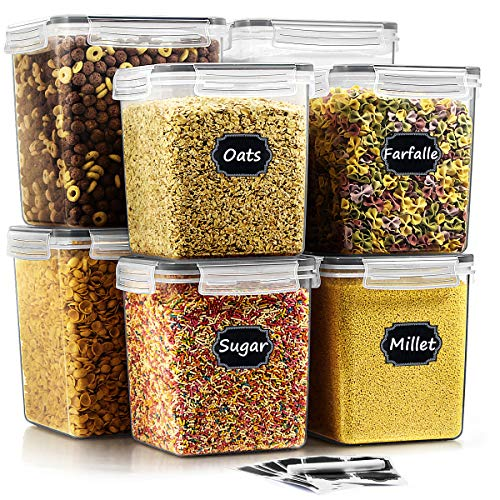 Airtight Food Storage Containers Set of 8 - Wildone BPA Free Cereal Storage Containers for Sugar, Flour, Snack, Baking Supplies, with 20 Chalkboard Labels & 1 Chalk Marker