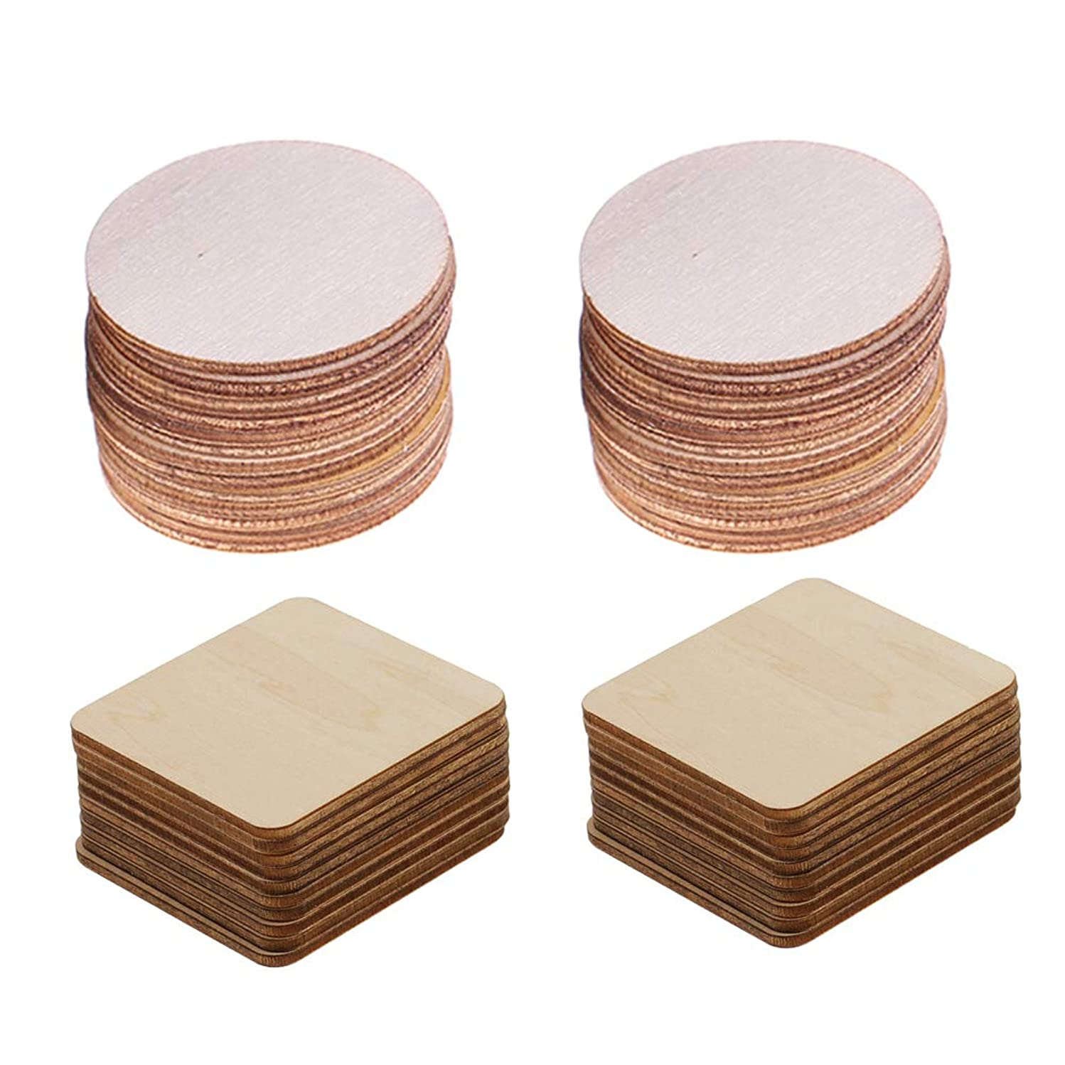 Unfinished Wood Slices Cutout Pieces - 12 Pack Round + 12 Pack Square Natural Rustic Wood Ornaments Crafts Plaques Tiles for Wood Coasters,DIY Arts Craft Supplies,Home Christmas Decoration,4 x 4 inch,Thickness 1/8 inch