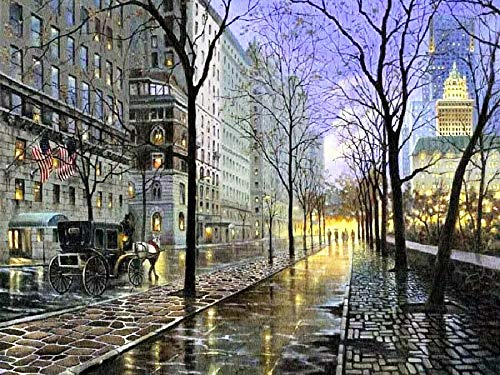 5D diamante bordado calle noche completo redondo diamante pintura paisaje imagen mosaico de diamantes de imitación recién llegado arte A10 45x60cm