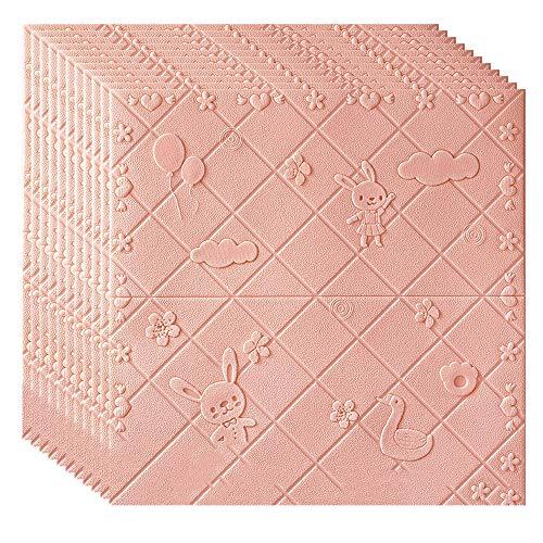 Pegatinas De Pared De Ladrillo Autoadhesivas 3D, Pegatinas De Azulejos De Colisión Y Salpicaduras De Baño Y Cocina 70 Cm * 70 Cm,Rosado
