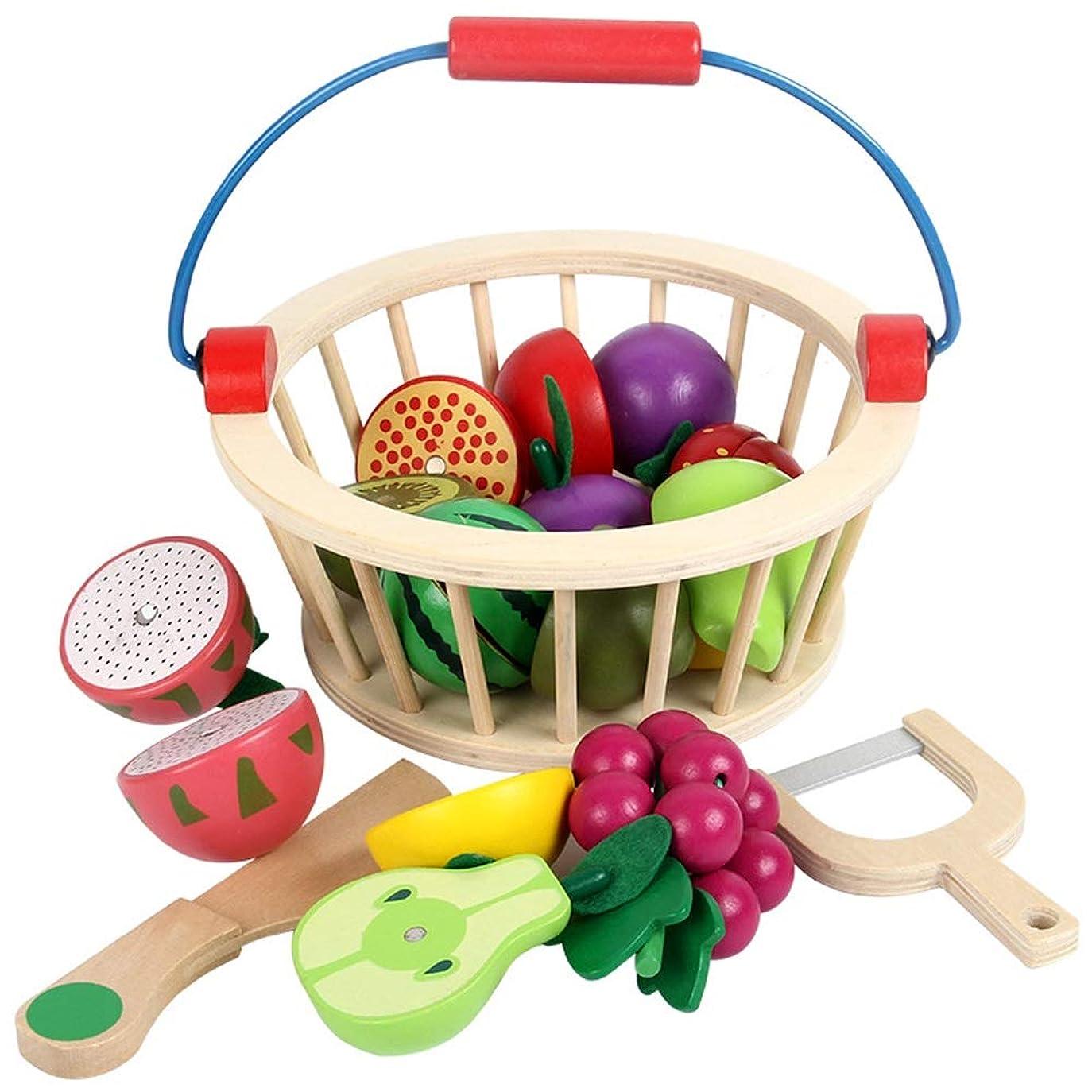 杖コミットメント遵守するふりプレイフードセット、 木製のカットフルーツのおもちゃ果物野菜キッチンおもちゃキッチンプレイセット教育学習玩具のためにキッズ 教育インタラクティブな赤ちゃんのおもちゃ (Color : 12pcs fruit, Size : One size)