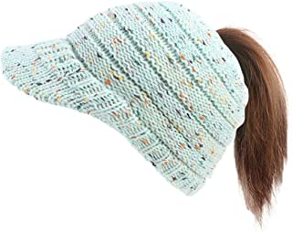 Women's Knit Hat Warm Hat Knitted Ponytail Cap Soft Beanie Slouchy Hat With Visor Hats & Caps (Color : Light blue)