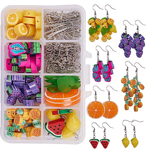 SUNNYCLUE 1 Box DIY Make 7 Pairs Polymer Clay Cluster Fruit Dangle Earring Making Kits - Polymer Clay Lemon Grape Watermelon Orange Beads & Cable Chains & Earring Hooks, Instruction