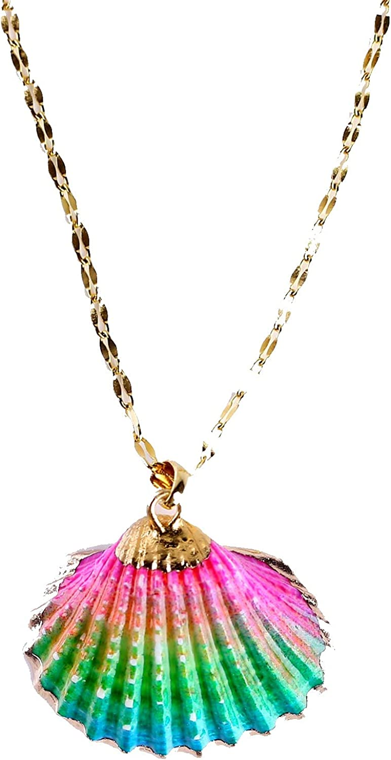 Qianxiang Handmade 18K gold-plated y Pendant Necklace, natural shell necklace, adjustable neck chain, women's Necklace