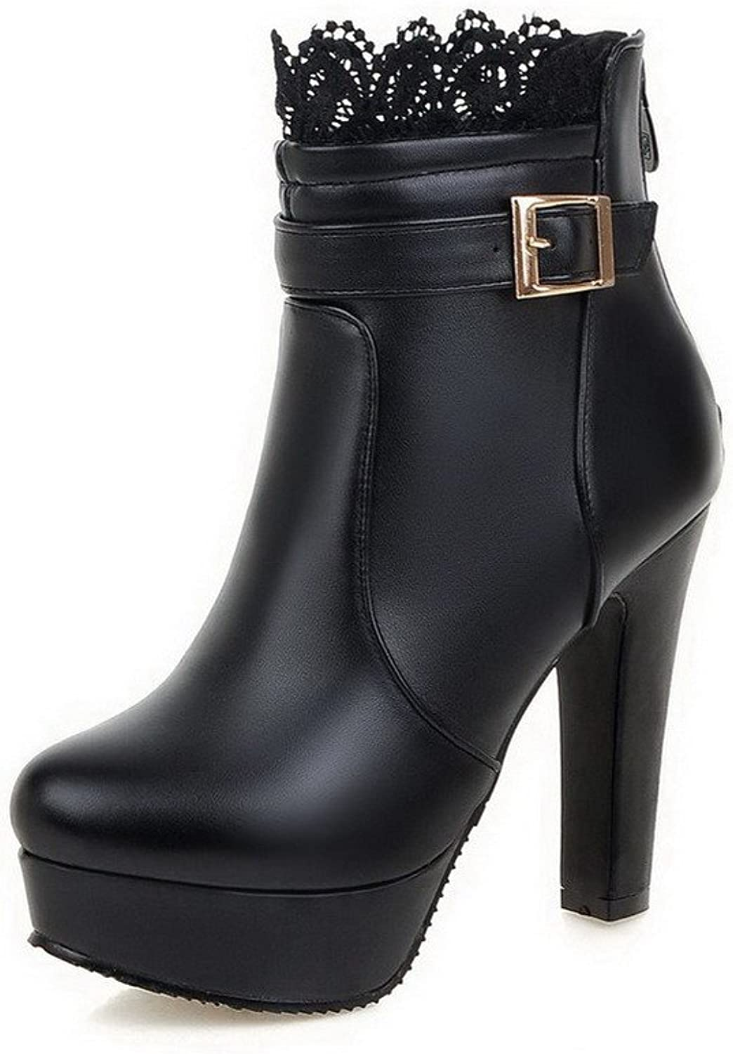AllhqFashion Women's High Heels Soft Material Low-top Solid Zipper Boots