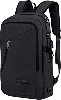 Laptop Backpack,Slim Business Computer Backpack with USB Charging Port for Men and Women,Water Resistant Anti Theft Durable College School Bookbag Fits 15.6 Inch Laptops and Notebooks,Black