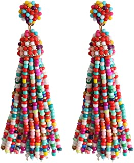 NLCAC Women's Beaded tassel earrings Long Fringe Drop Earrings Dangle 6 Colors