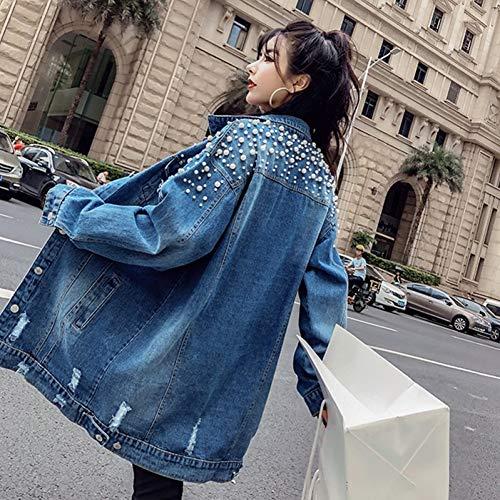 NSWTKL Chaqueta De Mezclilla Moda Abalorio Suelto Agujero Lavado Denim Jeans Chaqueta Mujer Otoño Abrigo Largo Mujer Embellecido