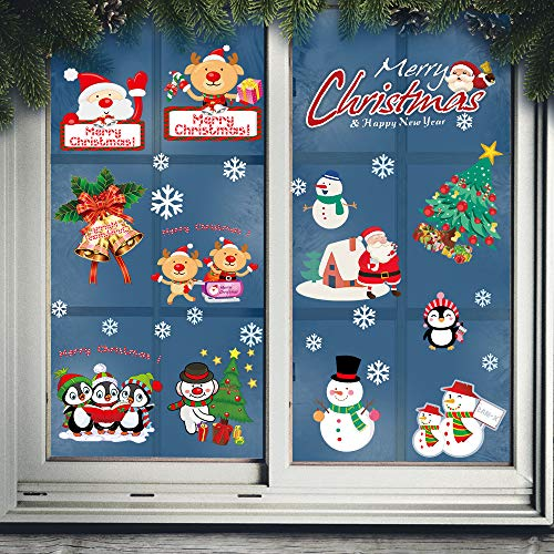 Pegatinas de ventana de Navidad, de doble cara, removibles para ventanas de Navidad, decoración de ventanas, adornos para fiestas, decoración de nevera, decoración