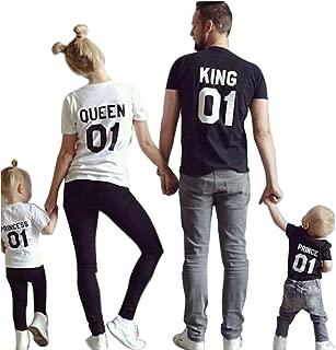 Minetom King Queen 01 Impresión Hombres Mujer Prince Princess Casual Fashion Tops Moda Manga Corta T-Shirt Ropa Familia Camiseta