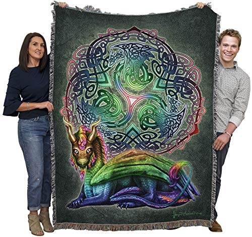 Celtic Dragon - Brigid Ashwood - Blanket Throw Woven from Cotton - Made in The USA (72x54)