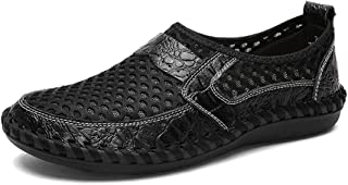 Casual shoes. Men's Mesh Loafer Flat Heel Solid Color Slip On Shoes (Color : Black, Size : 48 EU)