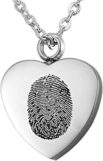 Valyria Jewelry Polished Heart Urn Pendant Cremation Ashes Memorial Necklace with Personalized Engraving