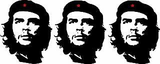 Etaia   3 x Mini Aufkleber Che Guevara roter Stern Revolution Kuba Cuba Sticker Auto Motorrad Fahrrad Bike auch für Dampfer E Zigarette Sisha