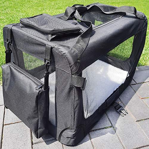 zooprinz Faltbare Hundetransportbox mit sicherem Stahlrohrrahmen - inklusive Kuschelunterlage für deinen Hund - in 5 Größen und 2 Farben (XXL, Schwarz)