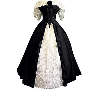 Women's Court Dress Tunic Lace Panel Renaissance Dress Off-Shoulder Pleated Long Medieval Dress