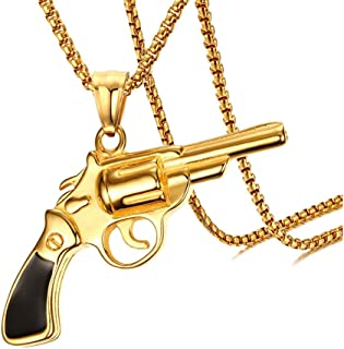 18K Gold Plated Titanium Steel Revolver Gun Pendant Necklace,22inches Chain