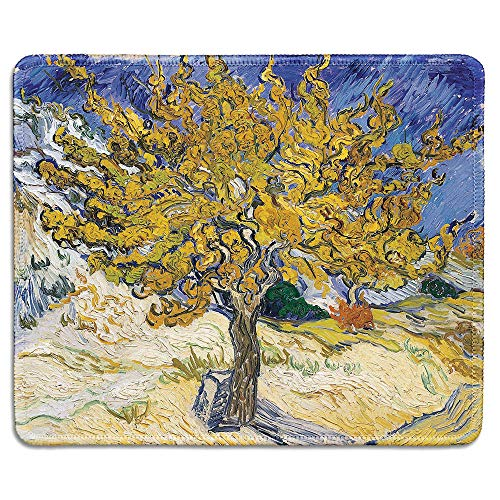 dealzEpic - Art Mousepad - Natural Rubber Mouse Pad with Famous Fine Art Painting of Mulberry Tree by Vincent Van Gogh - Stitched Edges - 9.5x7.9 inches