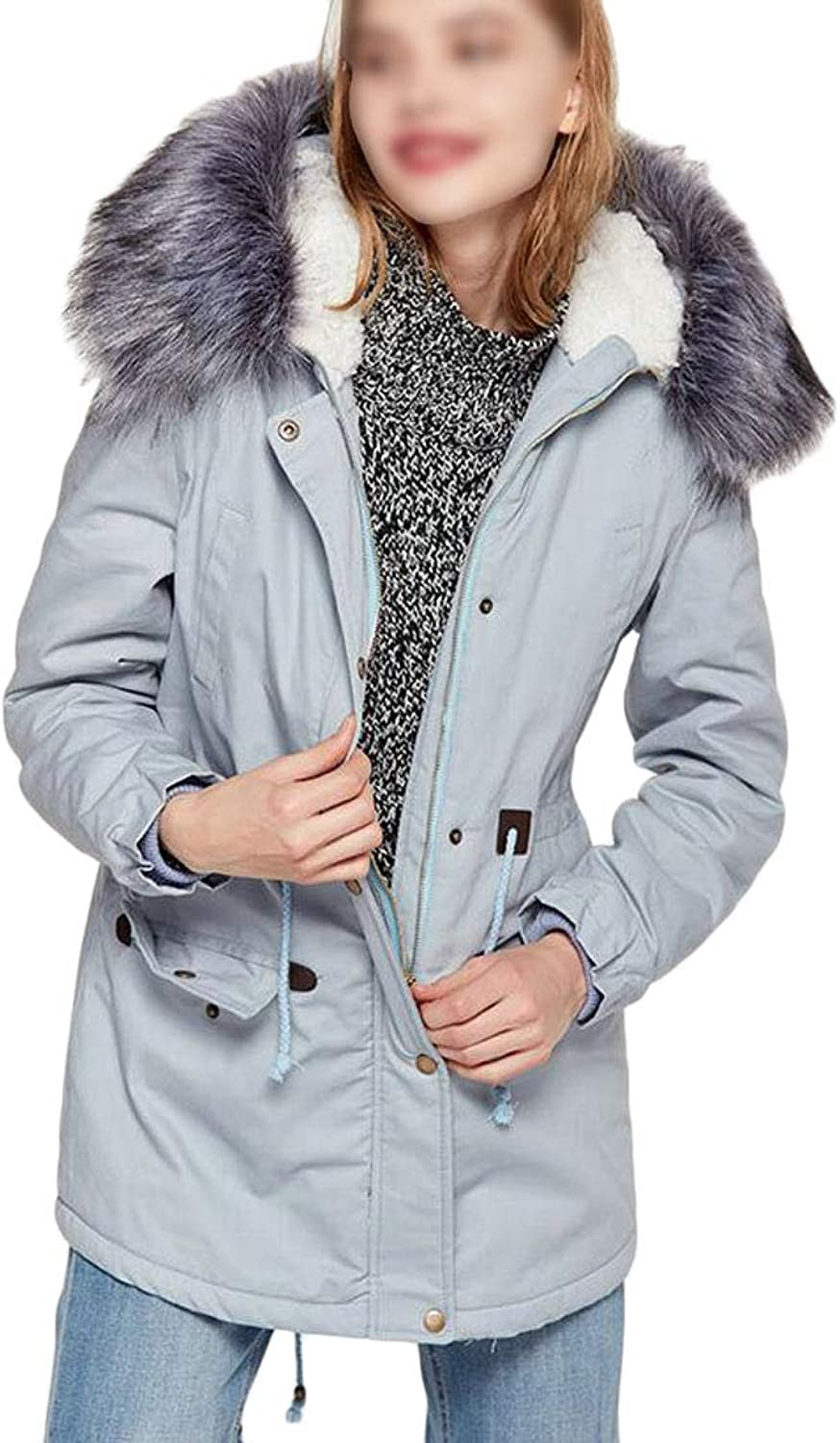 Hmarkt Women's Hooded Thicken Faux Fur Collar Lined Warm Cotton Anorak Coat with Hood