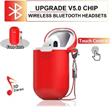Wireless earbuds Bluetooth headset, automatic pairing, mini single ear in-ear touch headset, with silicone case charging box, compatible with Airpods Android iPhone Samsung and other devices